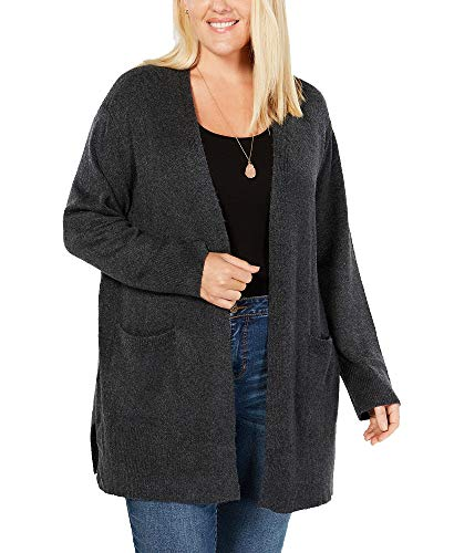 Style & Co Plus Size Open Cardigan (Black Heather, 3X)