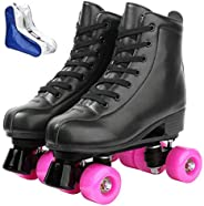 Roller Skate Shoes for Women Men PU Leather High-top Double-Row Roller Skates for Beginner, Professional Indoo