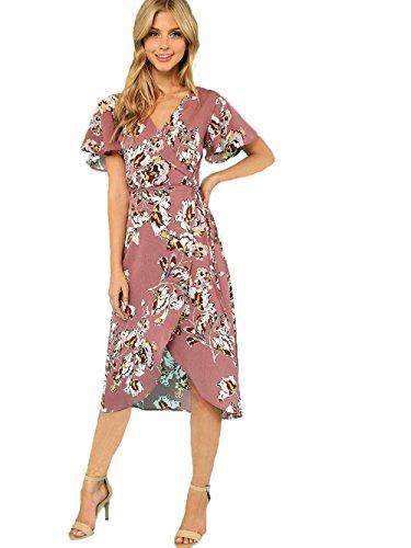 Floerns Women's V Neck Short Sleeve Belted Floral A Line Wrap Dress Multicolor M