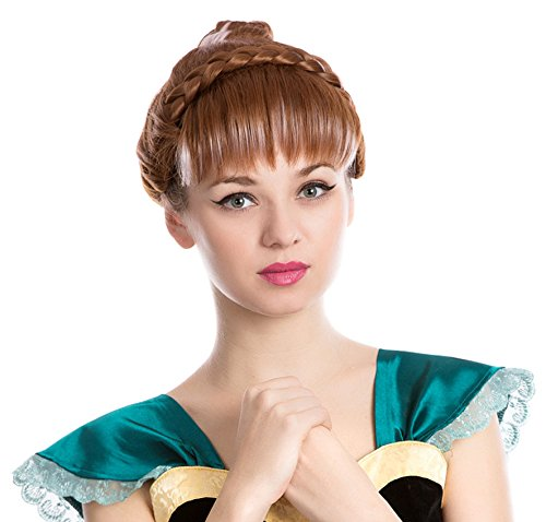 Womens Costume Halloween Party Cosplay Emulation Scalp Full Head Wig (Brown Anna -