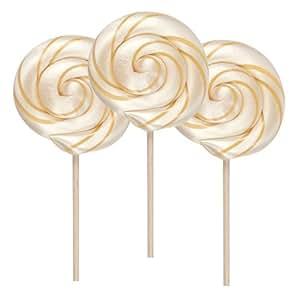 Natural Butterscotch Lollipop, Corn Syrup FREE, Pack of 3 - 1 Oz, Hammonds Candy Handmade, Cream Gold Stripe