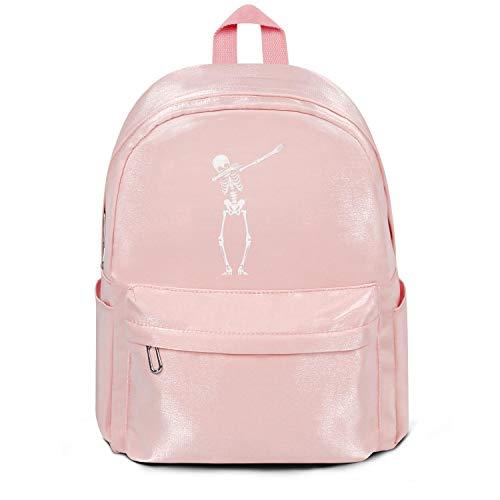 Heart Wolf Womens Girl Boys College Bookbag Dabbing Skeleton Dab Pose Hip Hop Skull and Bones Casual Nylon Durable Travel Daypack Backpack Bag Pink