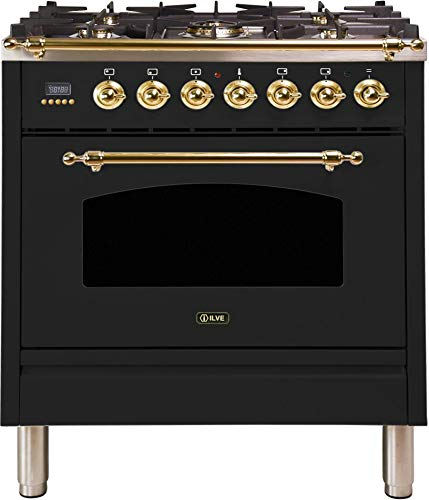 Ilve UPN76DMPM Nostalgie Series 30 Inch Dual Fuel Convection Freestanding Range, 5 Sealed Brass Burners, 3 cu.ft. Total Oven Capacity in Matte Graphite, Brass Trim (Natural Gas)