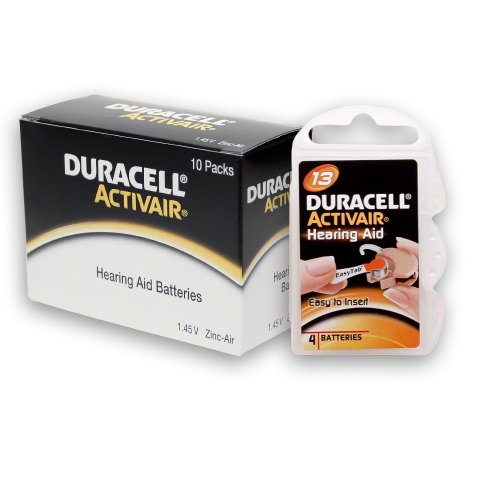 Duracell Hearing Aid Battery (40 Duracell Activair Hearing Aid Batteries Size: 13)