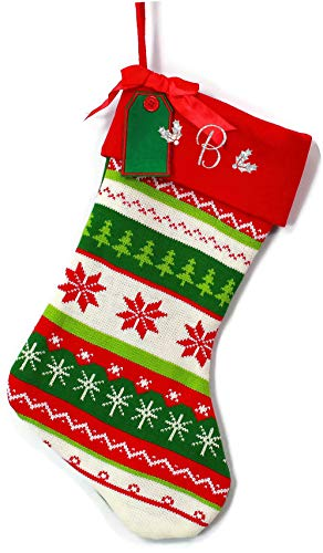 Monogrammed Christmas Stocking, Green with Red Cuff Fair Isle Knitted, White Script Glitter Initial B