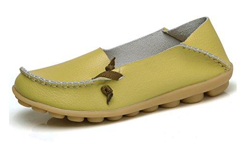 VenusCelia Frauen Comfort Walking Netter Flacher Loafer Melone / Gelblich