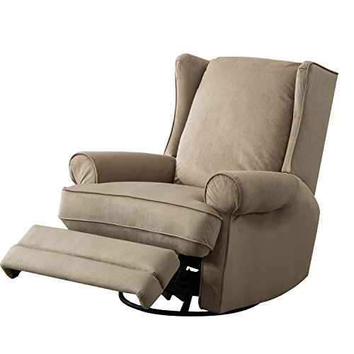 BONZY Modern Wingback Swivel Gliding Recliner Chairs Soft Bella Material - Sand by BONZY