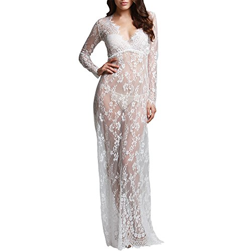 Sexy Deep V Neck Lace See-through Maxi Slit Dress for Wedding Pregnant Photos Shoot/ Swimwear Beach Bikini Cover up