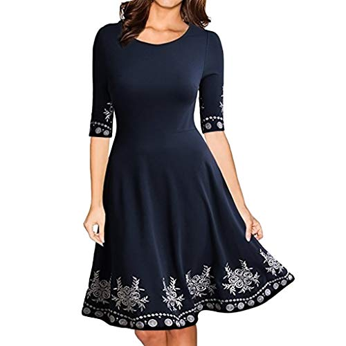 Women's Elegant Print Skirt Half Sleeve Casual O-Neck Print Slim Mini Dress Navy -