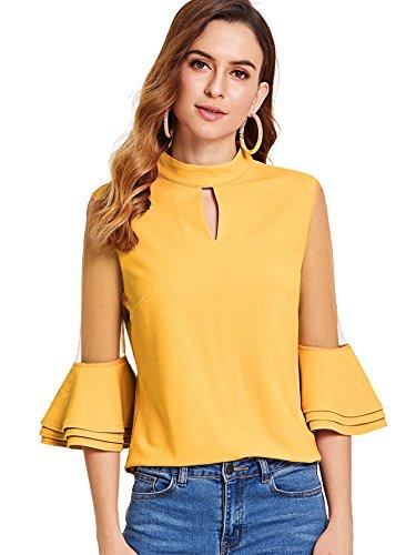 Milumia Women's Mesh Insert Layered Ruffle Sleeve Blouse 3/4 Short Sleeve Plain Casual Blouse Top Yellow L