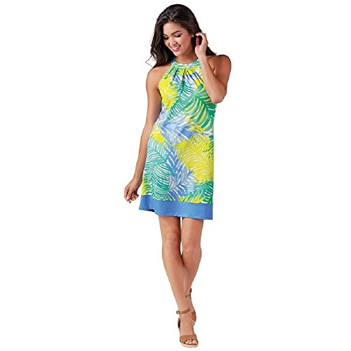 Mud Pie Natalie Bow Tie Dress In Palms Of Paradise Large Womens Racerback Dress