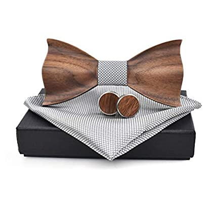 Quner Herren 3d Gepr/ägte H/ölzerne Fliege Schleife mit Einstecktuch und Manschettenkn/öpfen Kleidungszubeh/ör Set f/ür Hochzeiten Partei zum Anzug