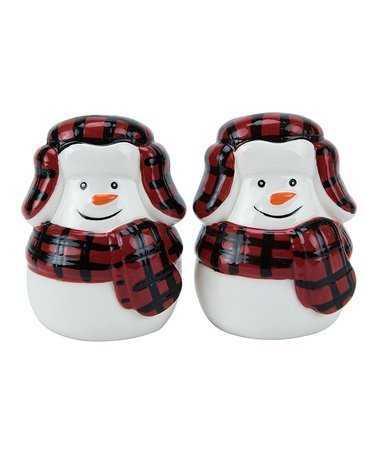 Buffalo Plaid Snowman Salt & Pepper set