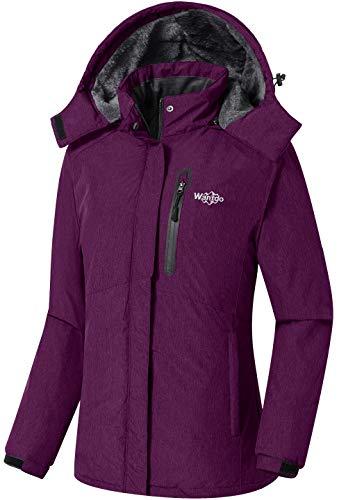 Wantdo Women's Waterproof Ski Jacket Fleece Winter Parka Windproof Snow Coat Water Resistant Raincoat