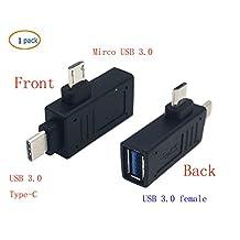 2-in-1MicroUSB3.0&USB3.1TypeCUsbOtgAdapter,SinLoonThreeModeUSB-A3.0USB-C Micro USB,USB3.0FemaletoUSBCMaleOTGDataHubConverter(Type c M-USB 3.0 F)