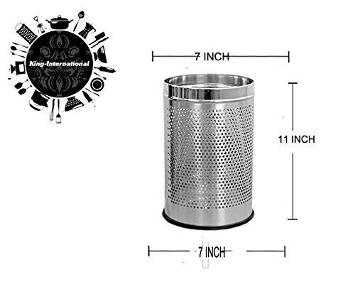 King International Stainless Steel Perforated Open Dustbin 7x11 Inches