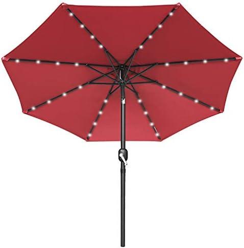 MASTERCANOPY 9ft Solar Umbrella 32 LED Lighted Patio Umbrella Table Market Umbrella