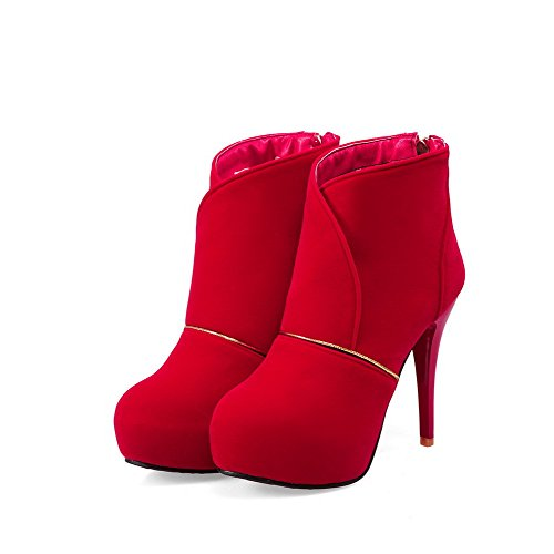 Allhqfashion Women's Solid High Heels Round Closed Toe Imitated Suede Zipper Boots Red YBGYgx2