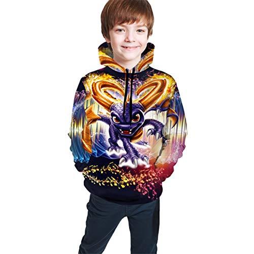 Kid's/Youth Plus Velvet Hoodies SP-yro The Dragon Children's 3D Print Winter Hooded Sweatshirt XL(18-20) Black (Melissa Lady Dragon)