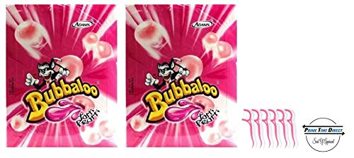 Adams Bubbaloo Bubble Gum Tutti Frutti 50ct (Pack of 2) with 20ct Dental Flossers in a Prime Time Direct Sealed Bag
