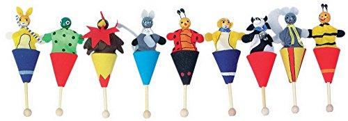 Marionnettes avec cornets env 10 cm de haut. Lot de 9.