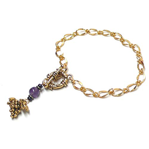 Pewter Grape Cluster Gold-Tone Chain Bracelet Amethyst