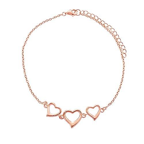 Sterling Silver Rose Gold Plated Triple Heart Link-Chain Anklet (9 Inch Adjustable Linked Bracelet)
