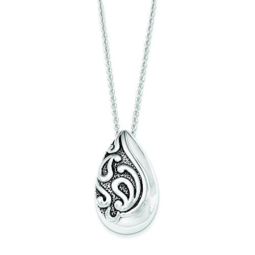Sterling Silver Antiqued Teardrop Ash Holder 18in Pendant Necklace -