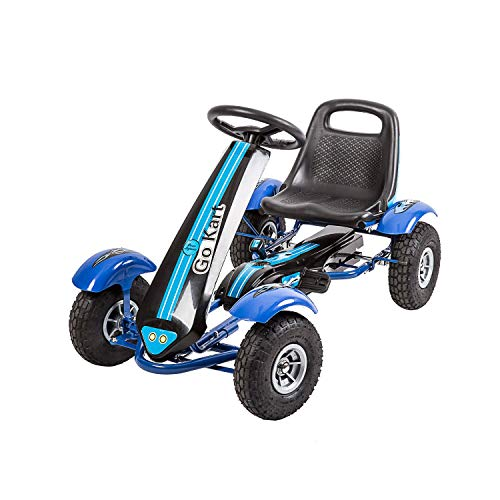 Kinbor Go Kart/Pedal Car,Pedal Powered Ride On Toys for Boys & Girls with Adjustable Seat Blue (Kids Pedal Go Cart)