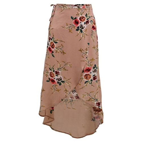 Beachfavora Summer Boho Vintage Floral Print Side Slit Wrap Maxi Skirt Girl Waist Skirts Pink XL by Beachfavora