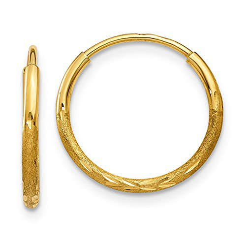 Tiny 14K Yellow Gold Diamond Cut Continuous Endless Hoop Earrings, 12mm (1.25mm Tube) ()