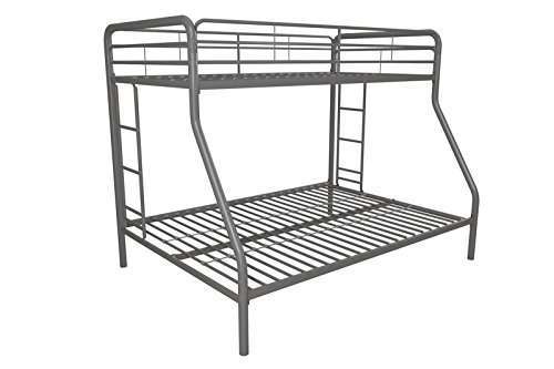 Simple Living Products Twin Over Full Bunk Bed - Metal Frame With Dual Ladders - Kids Toddlers Room Furniture - Mattresses Not Included! ()