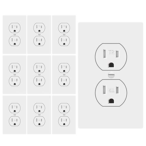 (ETERMTT 15A Decorator Receptacle Outlet, Standard Duplex Electrical Wall Outlet, Tamper-Resistant with Wall Plate Cover, Kids Safety Proof, White,UL listed,10 Pack)