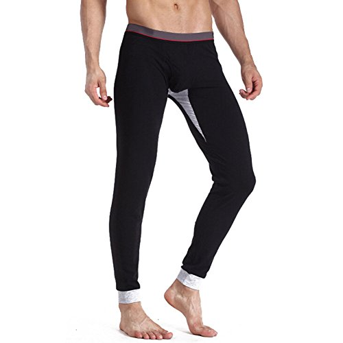 hibote pantaloni termici Biancheria intima per la Mens, Mens Johns lungo, Mens calda biancheria intima termica Long John adatto per l'inverno nero XXL (180)