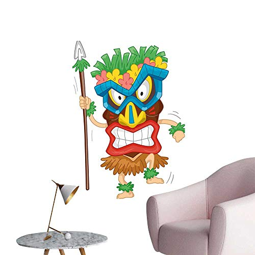 Jaydevn Tiki Bar Decor Art Decor 3D Wall Mural Wallpaper Stickers Native Man Wearing Mask Illustration Cartoon Tribal Costume Primitive Ritual Stair Elevator Side Multicolor W8 x H10 ()