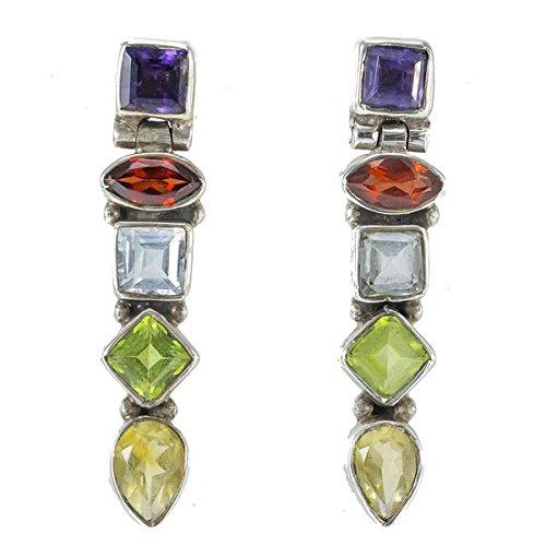 Handmade Citrine, Garnet, Iolite, Peridot Dangling Earrings