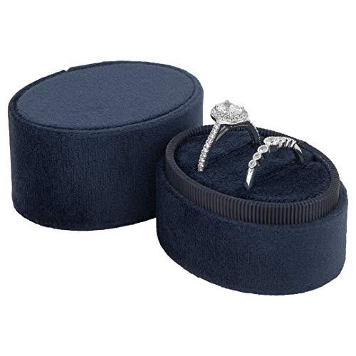 Koyal Wholesale Double Oval Velvet Ring Box, Vintage