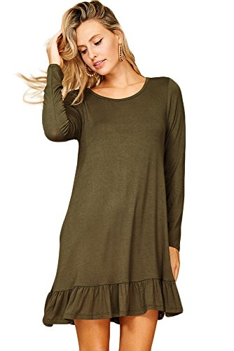 Annabelle Womens Round Neck Long Sleeve Ruffle Hem Pocket Dresses Olive Small D5228