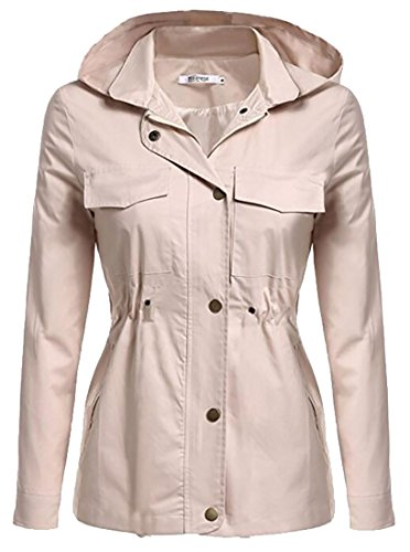 Jacket Hooded Lightweight Raincoat Khaki today Women Casual UK Windbreaker tfnwxqS0zv