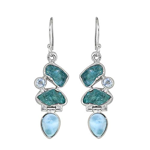 "YoTreasure 2"" Rough Blue Apatite Larimar Solid 925 Sterling Silver Earrings"