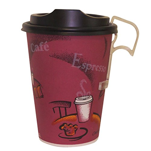 12 Oz. Solo Bistro Design Paper Coffee Cup with Black Dome Lids- 50 Sets - plus 5 plastic clip on handles