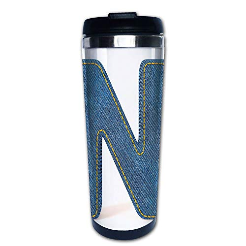 Stainless Steel Insulated Coffee Travel Mug,Denim Alphabet Font Design Blue Jean Writing System,Spill Proof Flip Lid Insulated Coffee cup Keeps Hot or Cold 13.6oz(400 ml) Customizable printing