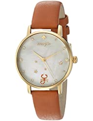 kate spade new york Womens Metro Quartz Stainless Steel and Leather Casual Watch, Color:Brown (Model: KSW1194)