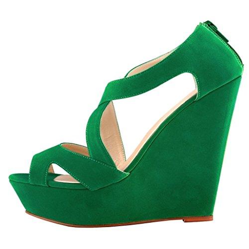 MERUMOTE - Sandalias de vestir de Material Sintético para mujer Green-Faux Wildleder