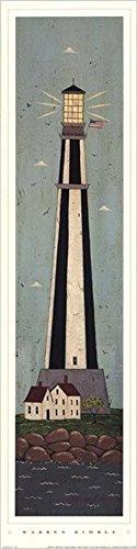Buyartforless Nautical IV - Black Striped Lighthouse by Warren Kimble 28x7 Coastal Art Print Poster
