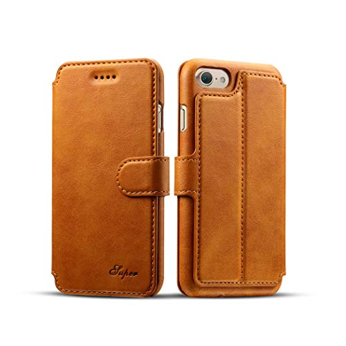 iPhone 7 Plus Case, iPhone 8 Plus Case, Leather Wallet Case - [Slim Fit] Vintage Flip Case Cover with Stand Function & Credit Card Slots for iPhone 7 Plus/iPhone 8 Plus, 5.5 Inch(Light Brown) by SIW WSX