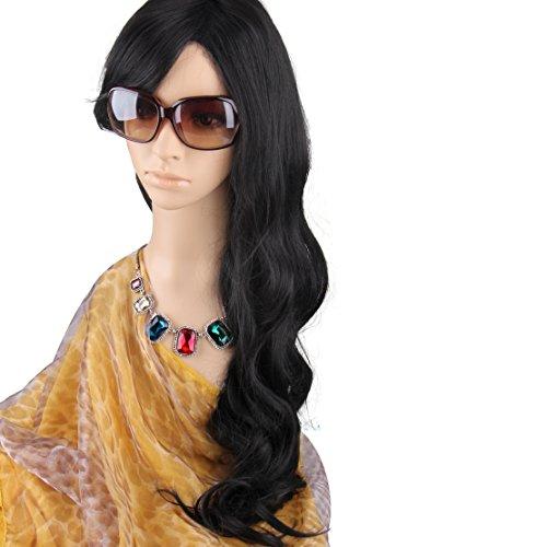 Glamour mode romantique Long Short pleine perruque de cheveux des femmes de couleur notre vie haute gamme avec une boucle réglable - Black / Dark Brown / Noir (Cheveux longs, Noir)