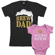 Threadrock Brew Dad & Micro Brew Infant Bodysuit & Men's T-Shirt Matching Set (Baby: 12M, Pink Men's: M, Black)