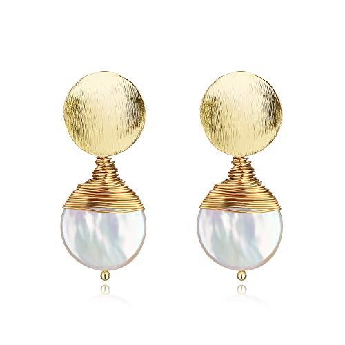 abc jewelry Stud Earrings for Women,Large Baroque Freshwater Pearl Earrings,14K Gold Earrings for Women - Earring Freshwater Womens