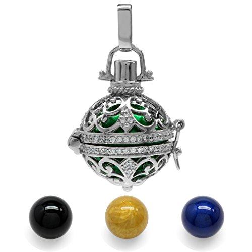 White CZ 925 Sterling Silver Filigree Harmony Ball Pendant w/ 4-Pc 16MM Colored ()